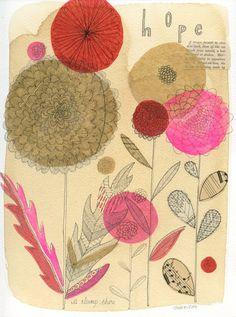 botanical collage drawing by Nova Scotia-based artist Susan Black Art And Illustration, Illustrations, Pattern Illustration, Collage Drawing, Collage Art, Scrapbooks, Susan Black, Design Graphique, Motif Floral