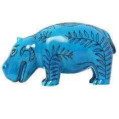 zaccagnini turquoise ceramic hippo.
