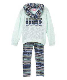 This Mint 'Love' Legging Set - Kids & Tween by Girls Luv Pink is perfect! #zulilyfinds