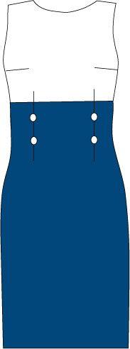 Sheath dress with high waist and contrast skirt