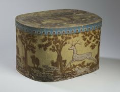 "Hatbox with Running Deer, 11"" H, 18"" L"
