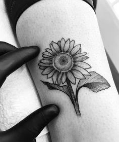 Tatuagem feita por Tiago Dhone de Curitiba.    Girassol em blackwork delicado no braço.