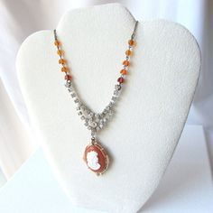 Repurposed Cameo with Rhinestone and Amber by Retreauxgirl on Etsy