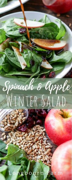 Spinach and apple winter salad is perfect for any holiday table spread. Delicious, fast and easy to toss together this colorful and healthy side dish will be a family favorite. Homemade balsamic vinaigrette pulls the whole salad together beautifully!