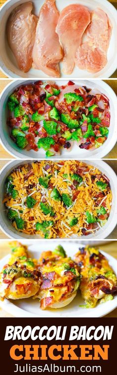 Broccoli Bacon Cheddar Chicken Breasts baked in a casserole dish. Gluten free recipe.
