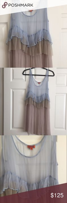 Chan Luu gorgeous sheer dress Light as air, so pretty! Excellent condition never worn. I suggest wearing with a free people slip. 100%viscose looks like silk Chan Luu Dresses Midi