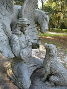 Angels waiting, This is a monument at a pet cemetery in Micanopy Florida - by christina bageant. its nice to know theres a beautiful pet cemetary out there for our little friends Cemetery Angels, Pet Cemetery, Cemetery Statues, Cemetery Monuments, Art Sculpture, Sculptures, Statue Ange, Old Cemeteries, Graveyards
