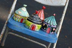 A great idea for papier mâché - little houses or circus tents