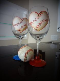 Baseball Lovers Wine Glass Set Hand Painted by BadgersandBows