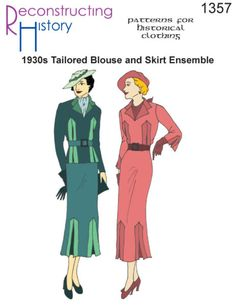 Vintage Suits Women Tailored Blouse and Skirt Ensemble Sewing Pattern Blouse Vintage, Vintage Tops, 1930s Fashion, Vintage Fashion, Retro Fashion, Vintage Clothing Display, Evening Blouses, Girly, Skirts For Sale