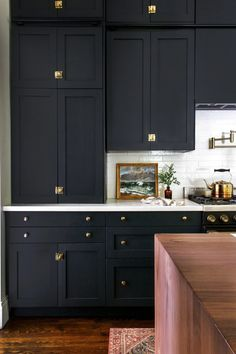 Tall, Dark and Handsome IKEA Cabinets Complete this Victorian Kitchen using Semi. - Tall, Dark and Handsome IKEA Cabinets Complete this Victorian Kitchen using Semihandmade Cabinet Fr - Black Kitchen Cabinets, Ikea Cabinets, Kitchen Cabinet Colors, Black Kitchens, Home Kitchens, Black Ikea Kitchen, Small Kitchens, Ikea Kitchens, Black Kitchen Paint