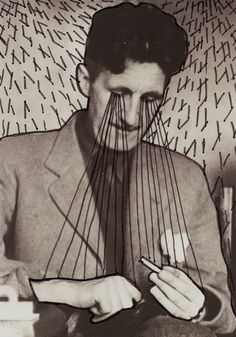 George Orwell doodling on famous authors. Animal Farm George Orwell, All Animals Are Equal, Great Thinkers, Dreams And Nightmares, Book Drawing, Hound Dog, Farm Animals, Collage Art, Illustration Art