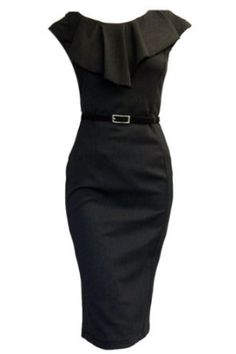 LADY VINTAGE 50s Black Sexy Wiggle Galaxy Pin-Up Pencil Dress with Glossy Belt - Sizes 8-18: Amazon.co.uk: Clothing