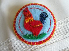 Hand Embroidered Felt PinRhode Island Rooster by FogwoodCreations, $18.00