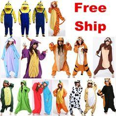 Mens Ladies Animal Onsie Fancy Dress Costume Onesie Kigurumi Pajamas Adult Dress