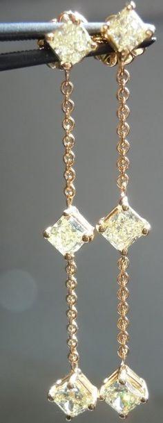 SOLD....Diamond Earrings: 1.50ctw Fancy Light Yellow Dangle Diamond Earrings R3982