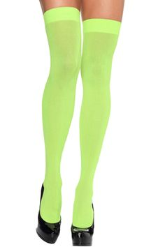 Green Modern Ladies Candy Color Plain Long Stockings pinkqueen.com