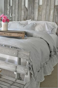 ruffle linen duvet cover features easy flow ruffles. Black Bedroom Furniture Sets. Home Design Ideas