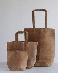 Dyed and waxed canvas bags by TAKIGAWA Kazumi, Japan