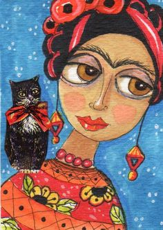 ACEO Original Painting Portrait Frida Kahlo CAT Whimsical  Art by FAiRyPiGGleS