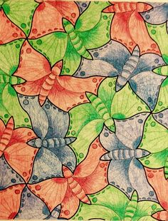 #Escher #Tessellation #Tiling #MC_Escher #Geometry #Symmetry My interpretation of Mc Escher symmetry nr 70