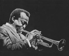 Miles Davis.... grayscale prismacolor pencils on black paper