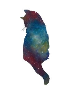 Cat Watercolor PRINT - Galaxy, Deep Space, Stars, Cat Silhouette, Open Edition. $15.00, via Etsy.