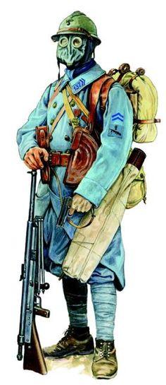 Francuski piechur w szynelu i hełmie Adrian wz. 1915 oraz masce przeciw-gazowej M2, uzbrojony w ręczny karabin maszynowy Chauchat wz. 1915 i pistolet PA Ruby