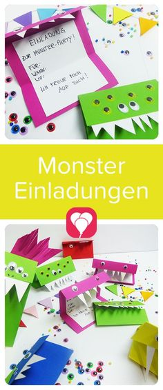 Aren& these invitations crazy? You will definitely enchant your guests . - Aren& these invitations crazy? They will definitely enchant your guests at the next children& - Monster Party, Monster Birthday Cakes, Monster Birthday Parties, Diy Birthday, First Birthday Parties, Birthday Party Themes, Photo Birthday Invitations, Party Invitations Kids, Party Favor Bags