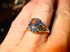 Antique Filigree style Opal Engagement Ring.Spectacular