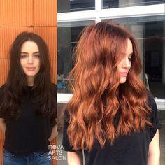 to the red side 😏Olivia Virden Ginger Hair Color, Red Hair Color, Hair Color Balayage, Balayage Hair Auburn, Ginger Hair Dyed, Reddish Blonde Hair, Brown Auburn Hair, Red Orange Hair, Gray Hair Highlights