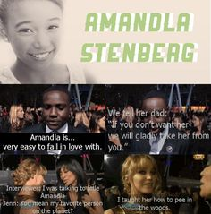 Amandla Stenberg (Rue) from The Hunger Games. I find this funny but cute at the same time...