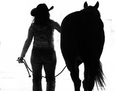 Cowgirl with horse silhouette