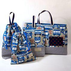 【再販】入園・入学*シューズバッグ (ブルーバス)   Handmade Shop~ Le confille (ハンドメイド・オーダーメイド・委託販売・代行販売)