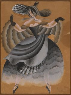 Ballets Russes La Valse costume design for Vera Karalli 1922 gouache and silver leaf sketch by Pavel Tchelitchev
