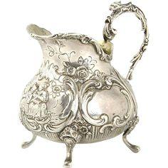 Silver Milk Jug Creamer by Gebruder Dingeldein Hanau Germany Circa 1870.