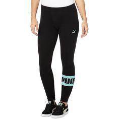 Puma Icon Leggings ($40) ❤ liked on Polyvore featuring pants, leggings, black, puma pants, stretch leggings, black cotton pants, black stretchy pants and black cotton leggings