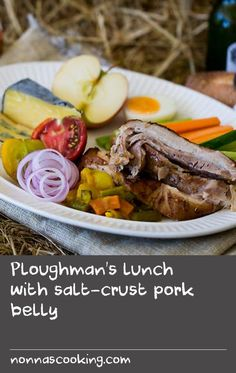 Ploughman's lunch with salt-crust pork belly | Baking in a strong salt crust is a great idea for picnicking. Not only does it produce a delicious flavour and tender texture, the crust forms a kind of edible case for transporting whatever you've baked inside. And it will stay warm in the crust for hours.