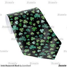 Shop Irish Shamrock Black Neck Tie created by LeonOziel. Black Neck, Custom Ties, Unique Image, Colorful Backgrounds, Night Out, Irish, Pattern, Prints, Irish Language