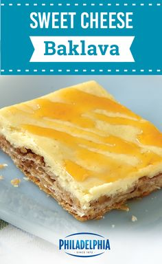 Combine cheesecake and baklava in our Sweet Cheese Baklava Recipe. Cinnamon, nutmeg and a honey drizzle make our Sweet Cheese Baklava Recipe unforgettable. Baklava Cheesecake, Baklava Recipe, Cheesecake Recipes, Cookie Recipes, Dessert Recipes, No Cook Desserts, Delicious Desserts, Sweet Tooth, Sweet Treats