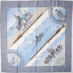 """Hermes Light Blue and White """"Gronland,"""" by Philippe Ledoux Silk Scarf"""