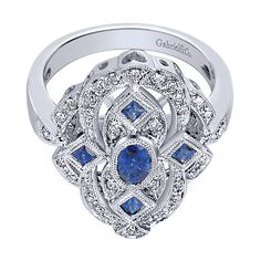14k White Gold Victorian Style  Fashion Ladies' Ring With  Diamond  With  And Sapphire.