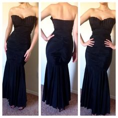Black Strapless Mermaid Gown with Ruching detail Absolutely beautiful black strapless mermaid gown with ruching down the body of the gown on the front and back. There is a slit in the lower portion of the gown. Stays up easily. Worn once. No stains no rips. Gorgeous curve-hugging gown. Ruching detailing is very forgiving. Fits a 6 or a small 8. Model is 5'11 but could work on 5'7 and taller. Shorter if with heels. Cache Dresses Strapless