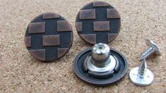 UNIQUE Rose Flower Bronze Buttons Studs Metal Brass Hammer Press Pin 20mm 2//Pk