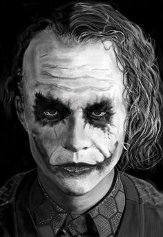 Sourire D'AngeHeureux, art, Heath Ledger, portrait, black and white, dessin, digital paiting, hyper réaliste, drawing Portrait Drawing, Art Drawings, Monster, Realistic, Joker, Art, Black And White, Portrait, Horror