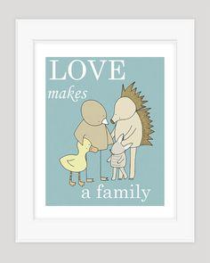 Baby Boy vivero arte, arte de adopción, guardería Animal, amor hace una familia, lámina, niños pared arte, decoración cuarto bebé