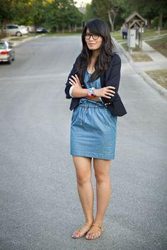 denim dress with blazer
