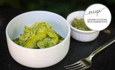 "I need to make this! Zucchini ribbon ""pasta"" with cilantro pesto!"