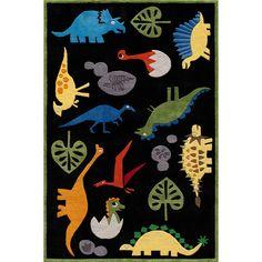 Momeni 'Lil Mo Dinosaur Black Rug (Black (5' x 5' )), Size 5' x 5' (Polyester, Animal)