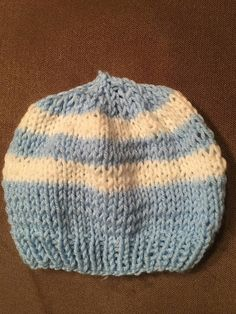 Blue and white striped hat New Hyde Park, Handmade Items, Handmade Gifts, Baby Hats, Different Colors, Knitted Hats, Blue And White, Knitting, Trending Outfits
